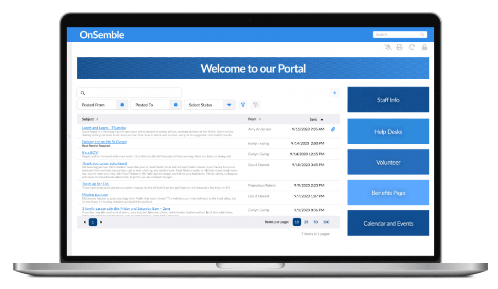 Intranet Portal Group Announcements Screenshot