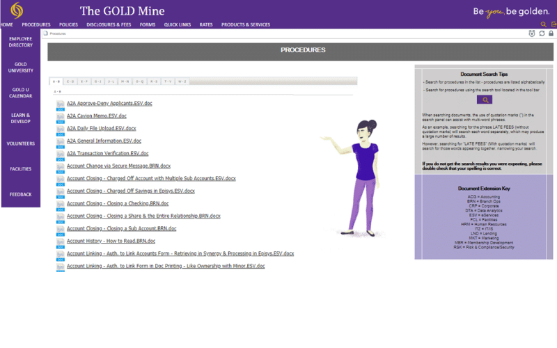 The Gold Mine Intranet Example