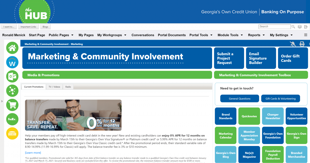 the hube georias own employee intranet success portal